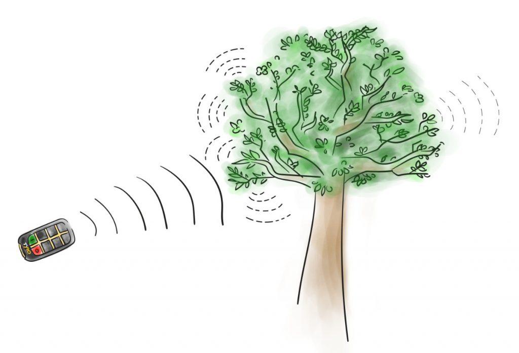 Träd absorberar delar av signalstyrkan